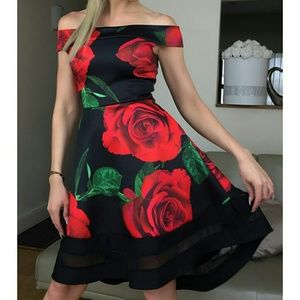 Dresses & Skirts - 🌷Scarlett red rose bardot floral dress